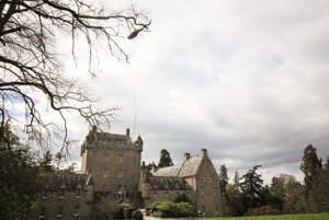 The helicopter hovers over Cawdor Castle
