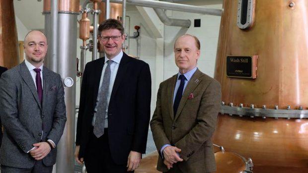 Left-right, Graeme Littlejohn head of external affairs at the Scotch Whisky Association, Business and Energy Secretary Greg Clark, Harris Distillery managing director Simon Erlanger.