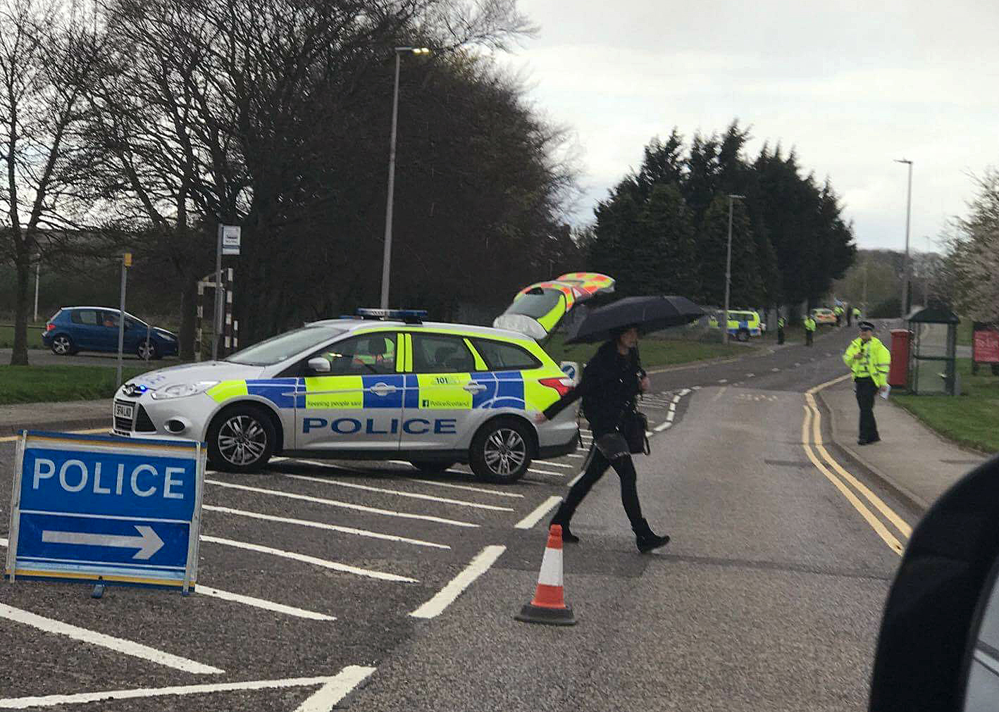 Police stopping traffic from using Pitmedden Road in Dyce Credit: Rory Macbeath