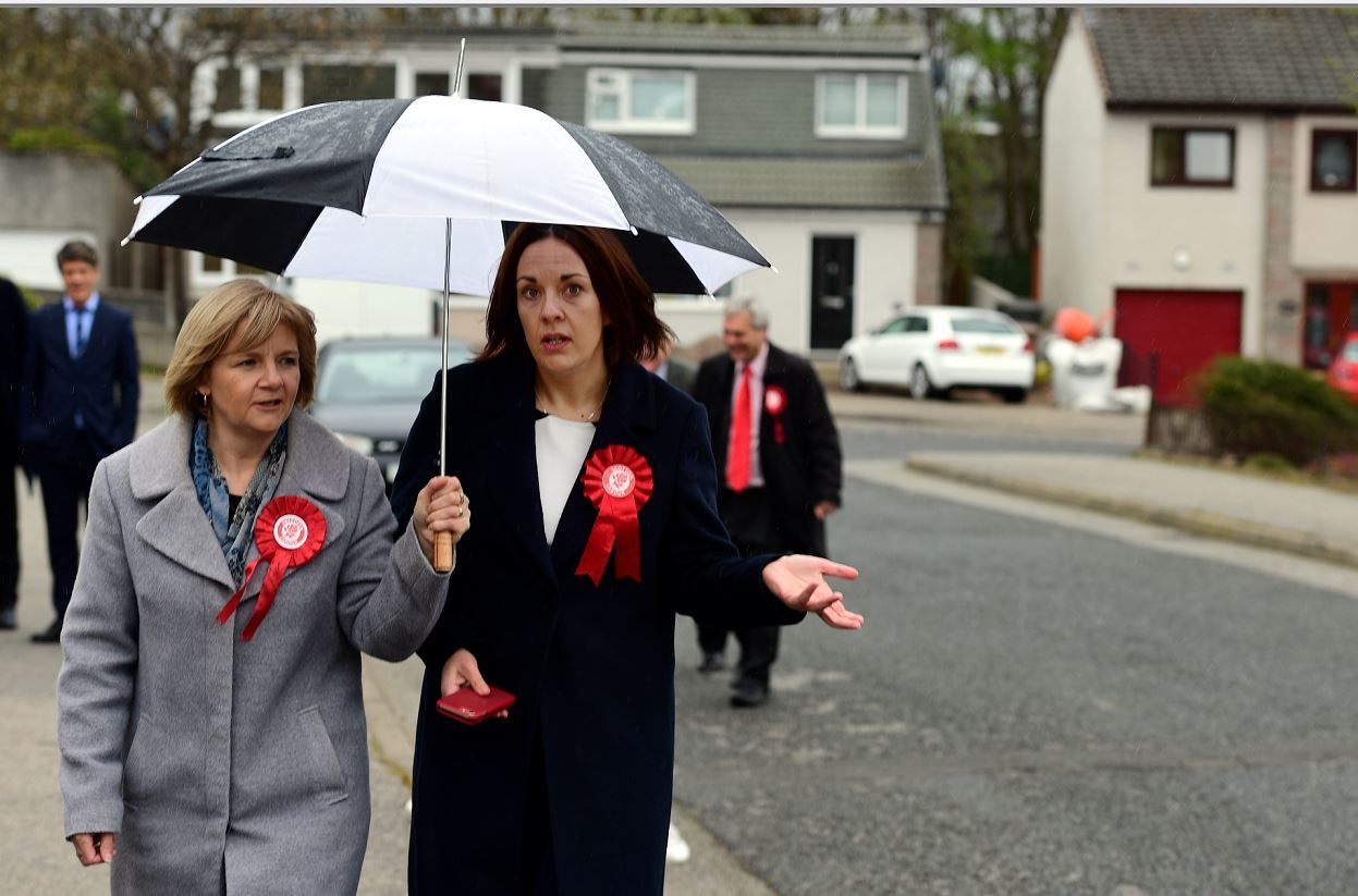 Aberdeen City Council co-leader Jenny Laing with former Labour leader Kezia Dugdale campaigning in April 2017