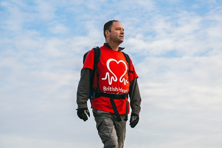 "A heart transplant patient is walking the Aberdeenshire coastline as part of a 5,000-mile trek around Britain to help raise £100,000 for the British Heart Foundation's (BHF) life saving research. Kieran Sandwell, 45, from Hertfordshire is taking on the incredible challenge, called ""Trail of Two Hearts"", to mark the end of his long battle with heart disease after having a heart transplant eight years ago."
