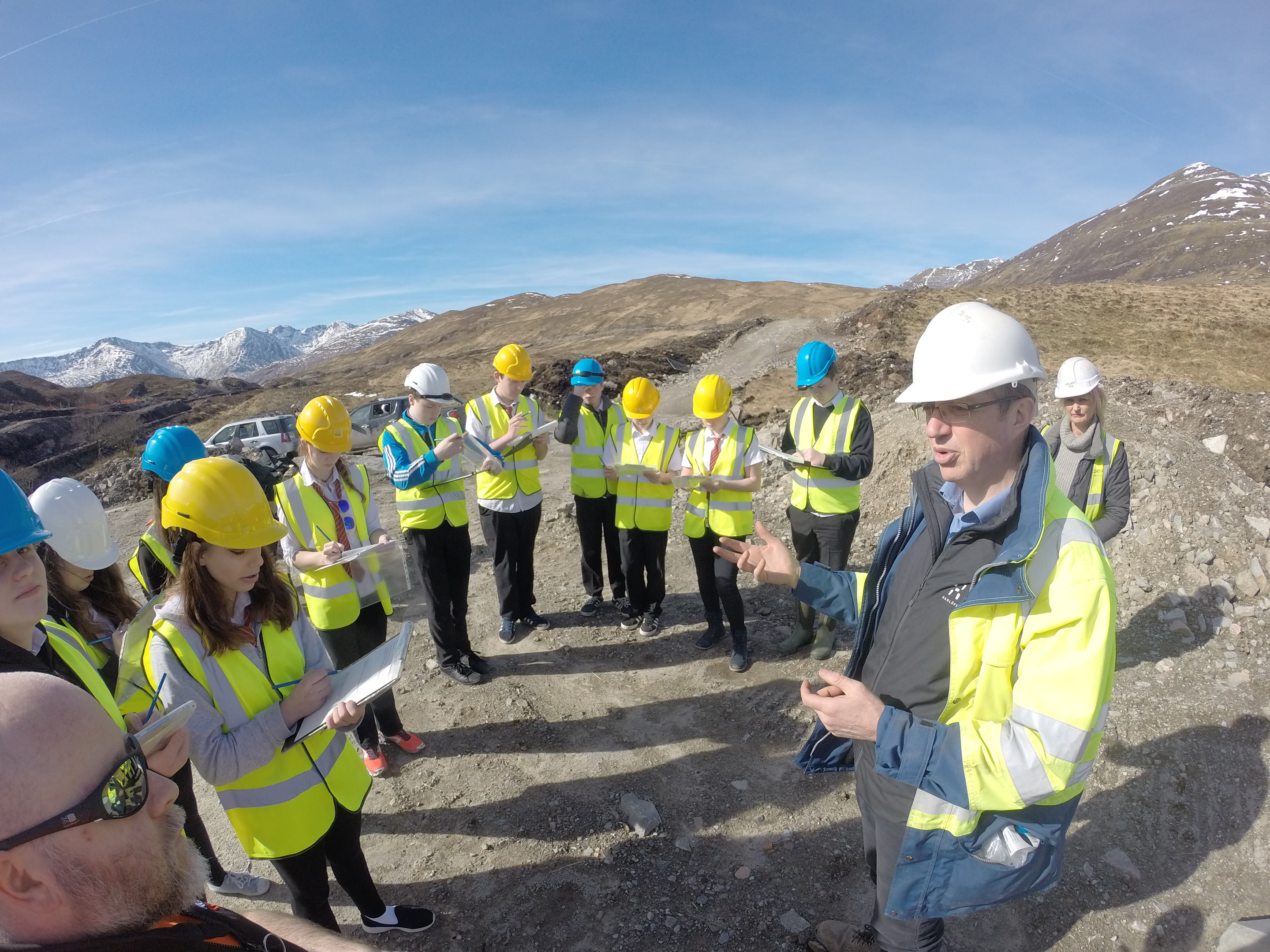 Kinlochleven High pupils during the site visit to the dam organised by staff at Green Highland Renewables.