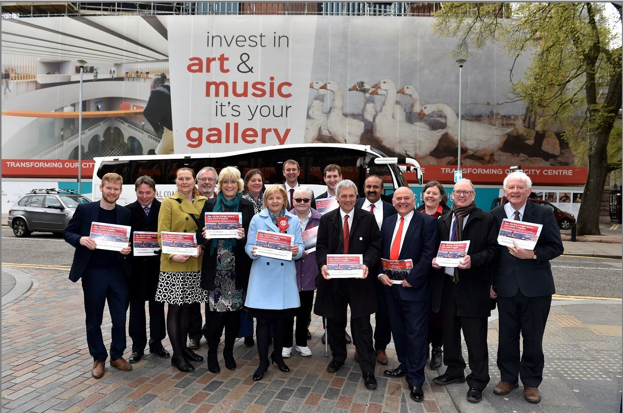 Labour launch election manifesto outside Aberdeen art gallery. Picture of Councillor Jenny Laing and local candidates.