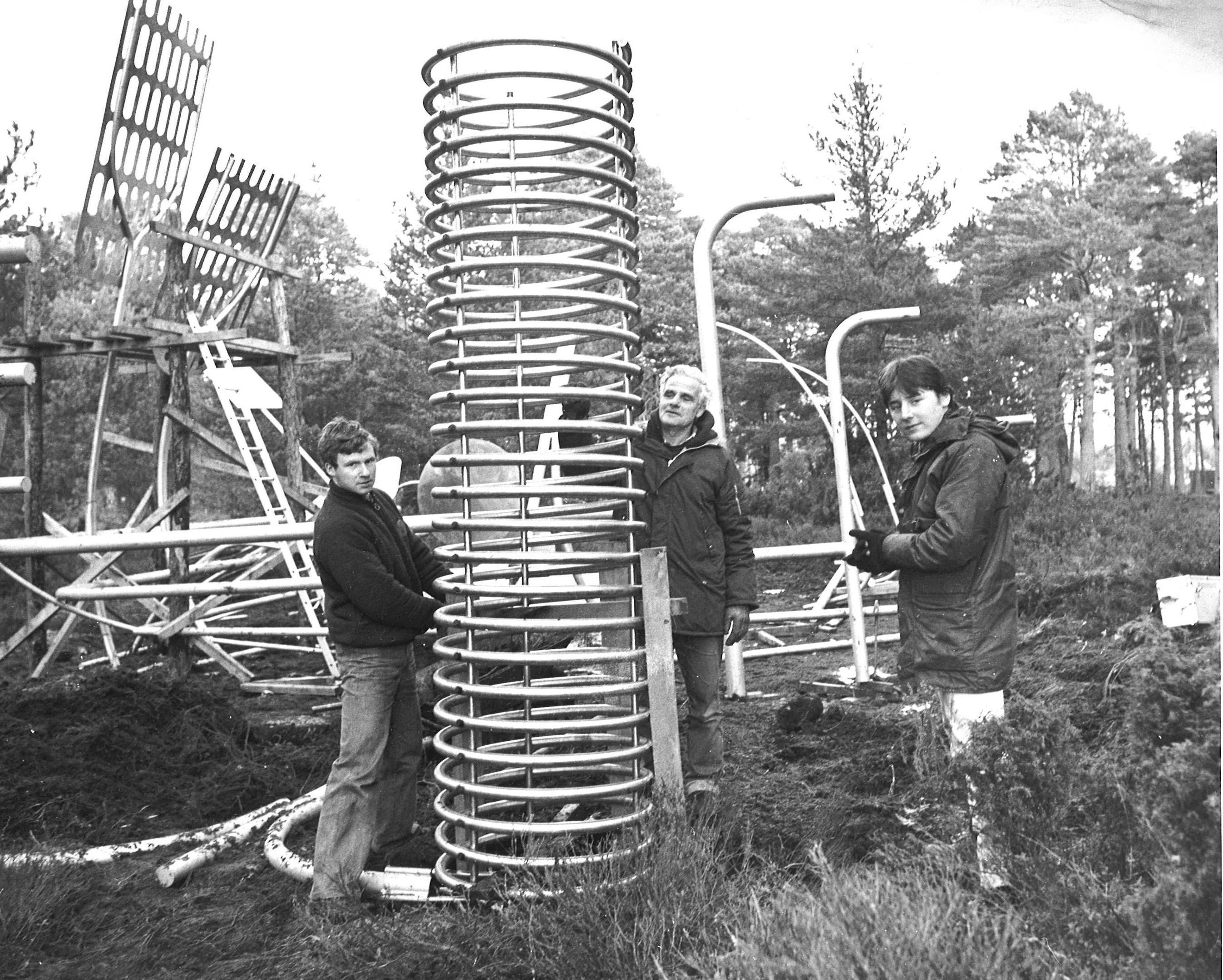 Lindsay McInnes, Ian McInnes and Landmark manager Danny Fullarton put together new sculpture at Landmark in 1982
