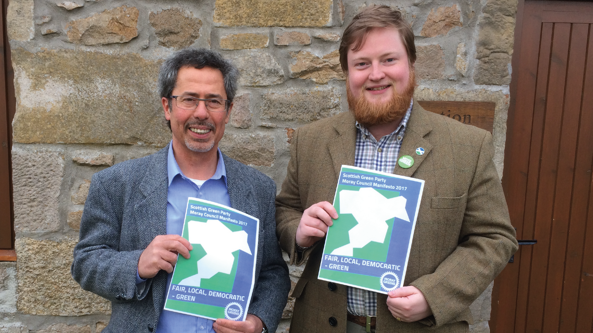 Forres candidate Fabio Villani and convenor James MacKessack-Leitch launch the Green party's manifesto for the Moray Council election.