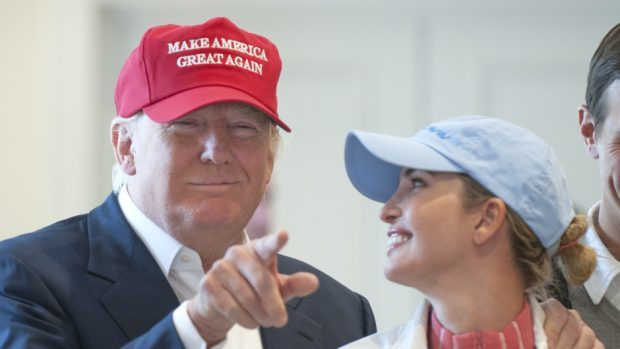 Donald Trump with his daughter Ivanka at his Trump Turnberry.