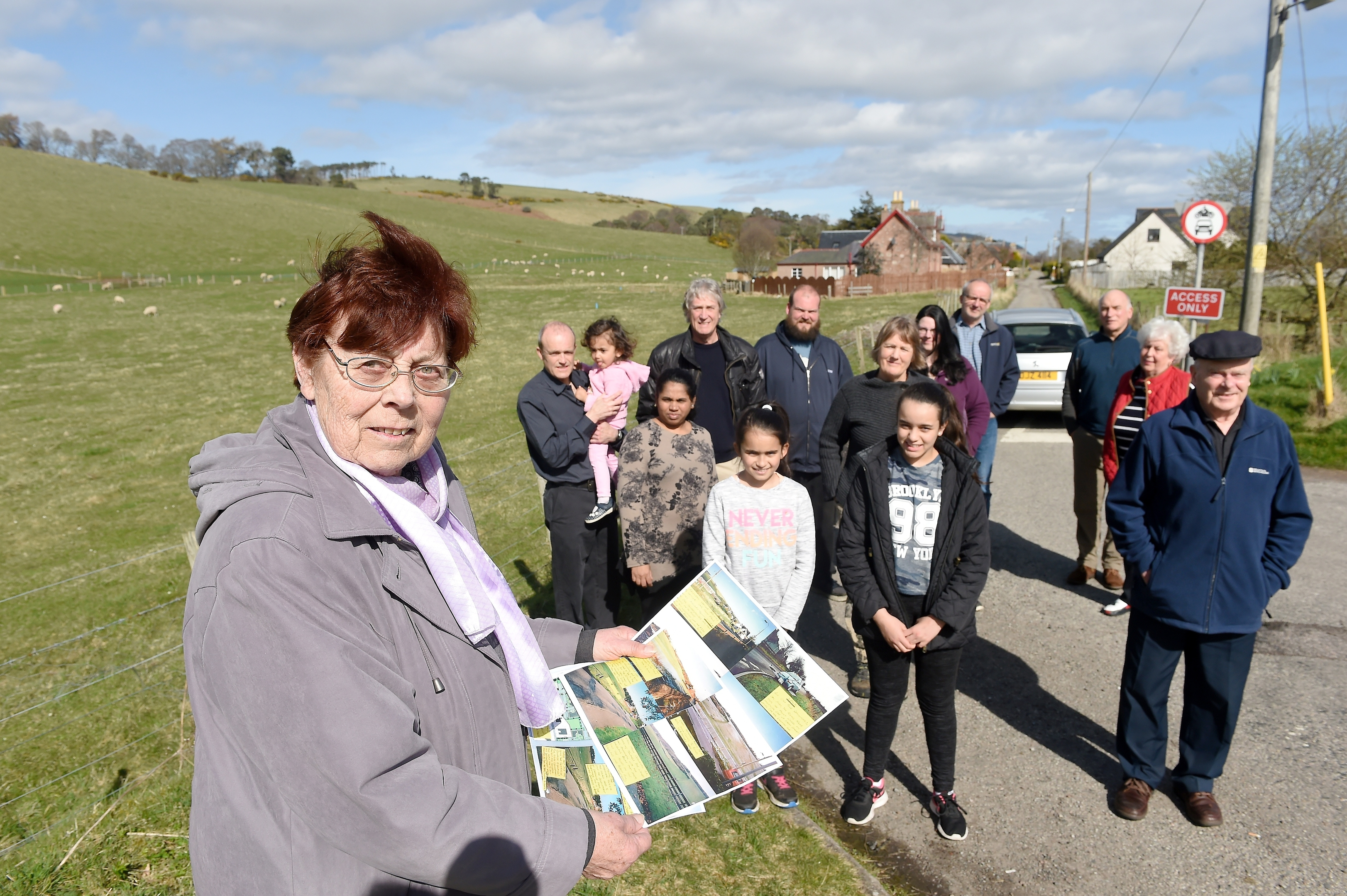 Diane Kinnear (foreground) of Rosemarkie with some of the other objectors to the proposed housing development off Courthill Road
