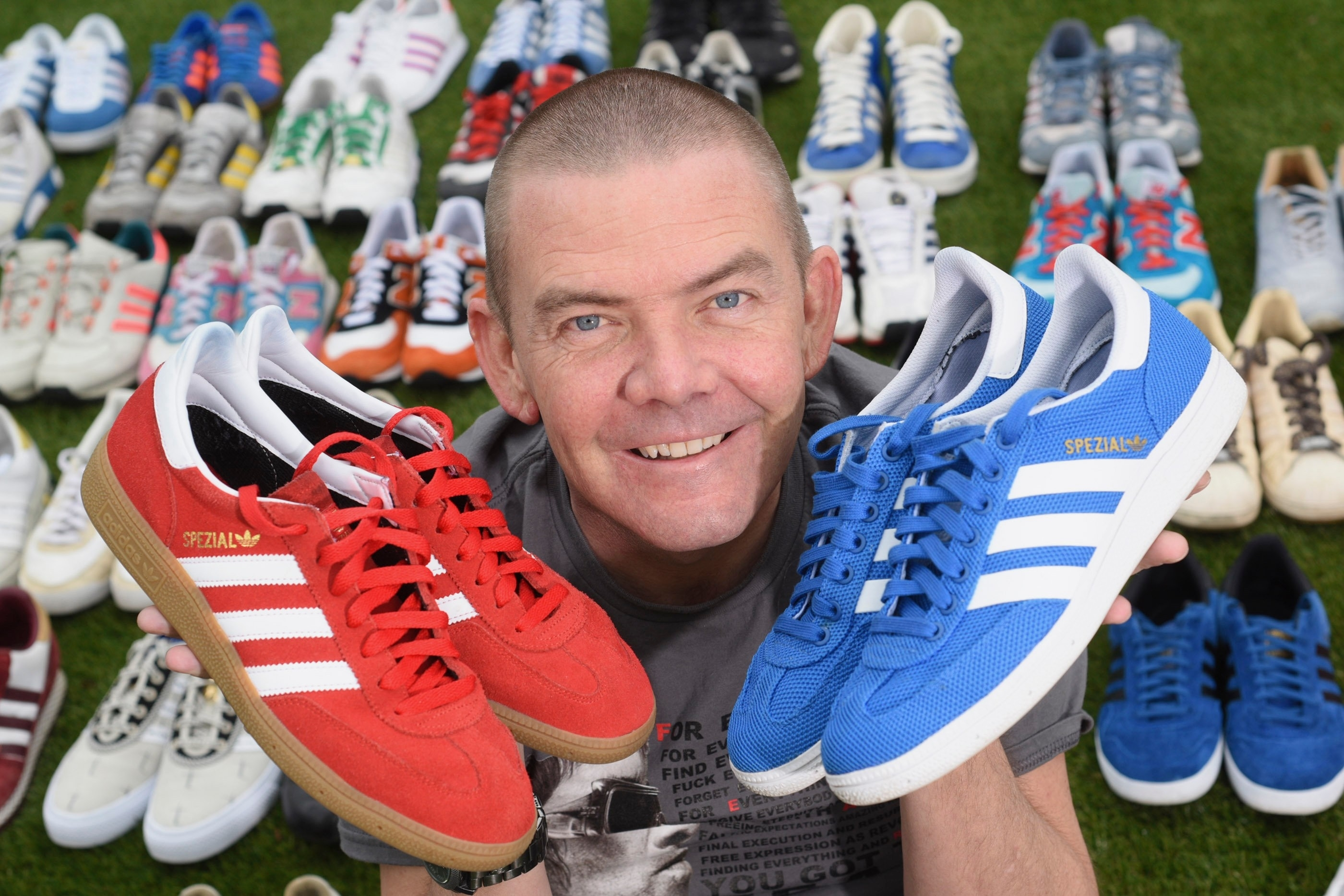 Ross Paterson with some of his trainer collection.