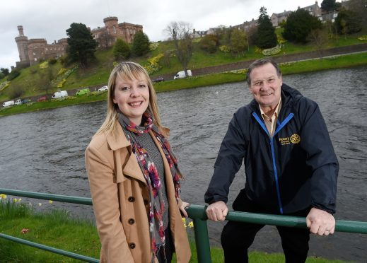 Eilidh Willoughby of Rotaract Inverness with Neil Chisholm of the Rotary Club of Inverness Loch Ness. Pic by Sandy McCook.