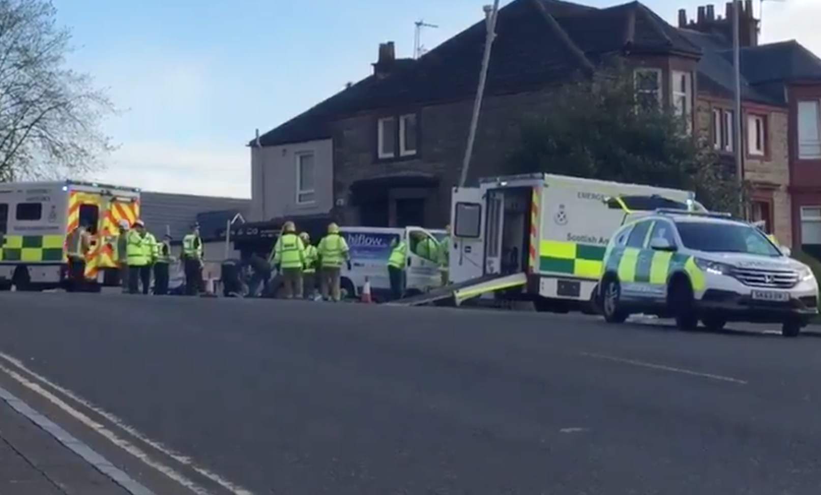Scene of the crash on Kilbowie Road, Clydebank