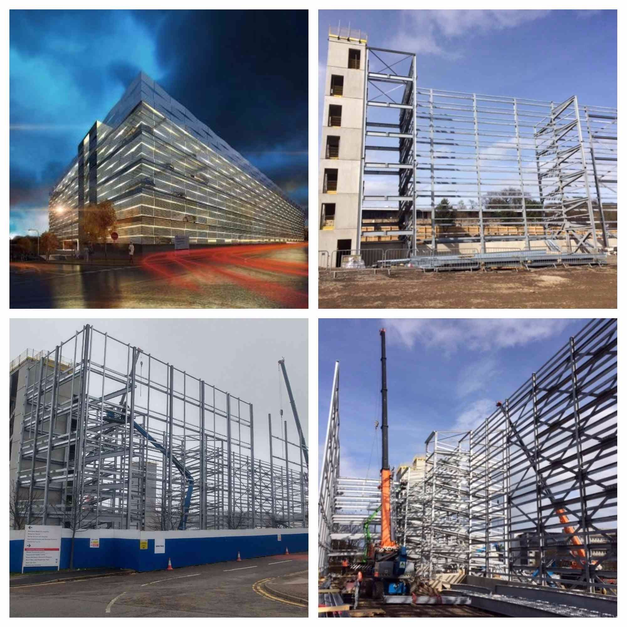 The new ARI car park in different stages through construction