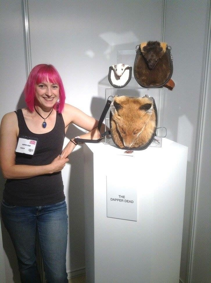 Examples of Emma Willats taxidermy sporrans made from roadkill.