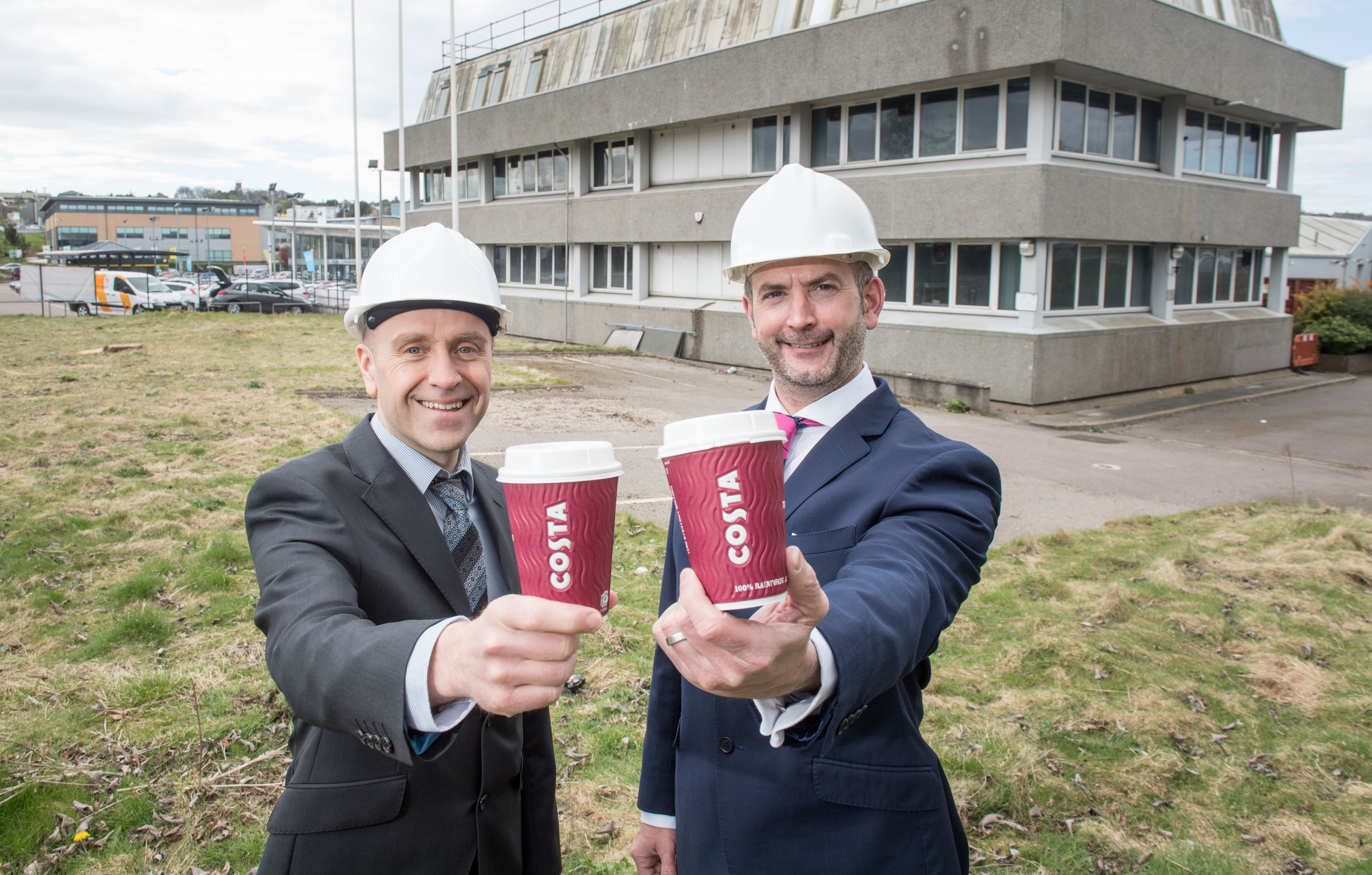 Aberdeen, Scotland, Thursday 20th April 2017  An Aberdeen office that has lain vacant for almost two years is to be raised to the ground this week after development and investment firm, West Coast Estates secured planning permission to transform it into a drive-thru Costa Coffee.  Pictured is:  Doug Gardner and Paul Richardson from the surveying company Ryden  Picture by Michal Wachucik / Abermedia