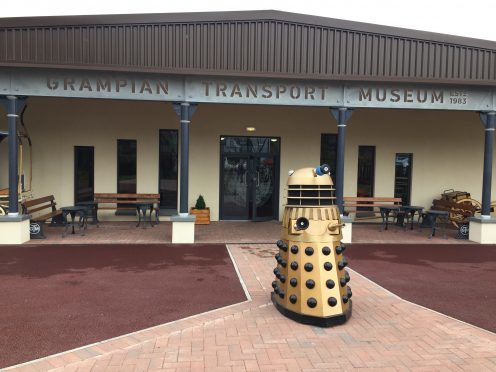 Alec the Dalek waits for intruders outside the Grampian Transport Museum, Alford.