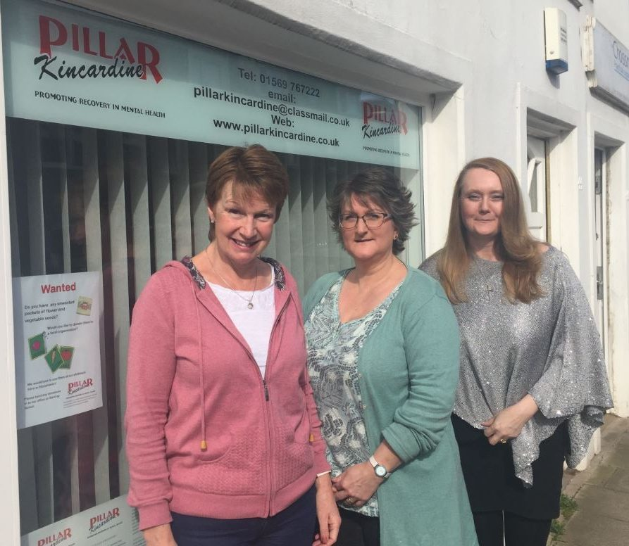 Pillar support worker Kirsty Towler, service manager, Moira Hurry and board member Wendy Brown.