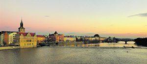 Sunset over the Vltava River in Prague, Czech Republic. Copyright Amy Laughinghouse.