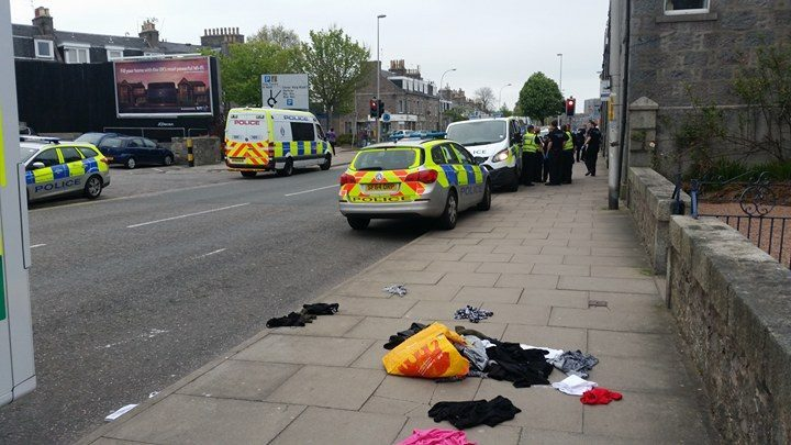 The incident took place on Holburn Street, across the road from the Iceland supermarket.
