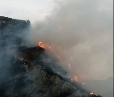 Fire at cliffs between Portknockie and Cullen