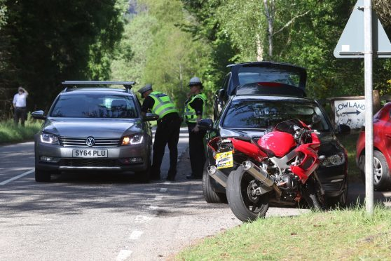 The motorcycle involved in the accident on the A831