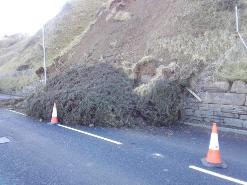Debris on the A9 prior to the clear-up