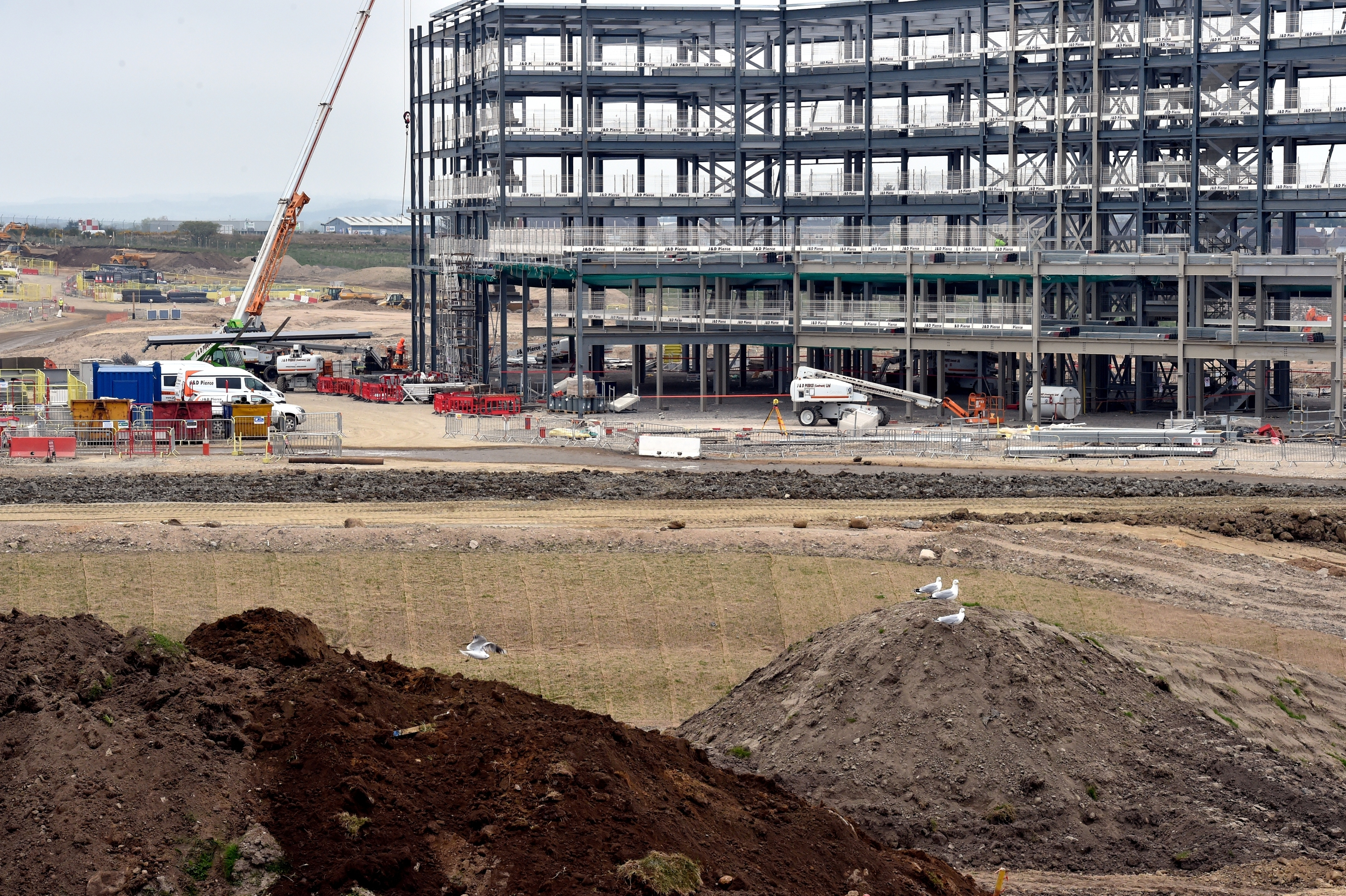 Work continues on the new AECC building near Aberdeen Airport, Dyce. Pictures and video by Colin Rennie.