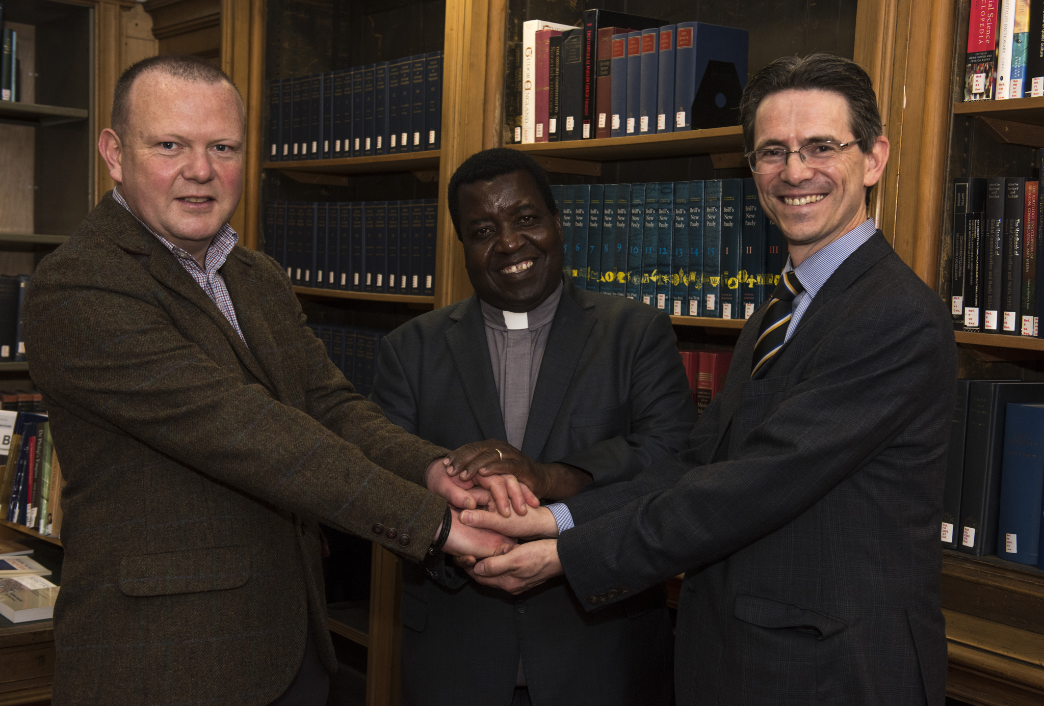 Monday 22nd of May 2017: General Assembly of the Church of Scotland. Day Three: Left to Right - Rev Dr Ken Jeffrey of Aberdeen University, Rev Alex Benson Maulana, Rev George Cowie of South Holburn Parish Church Aberdeen.