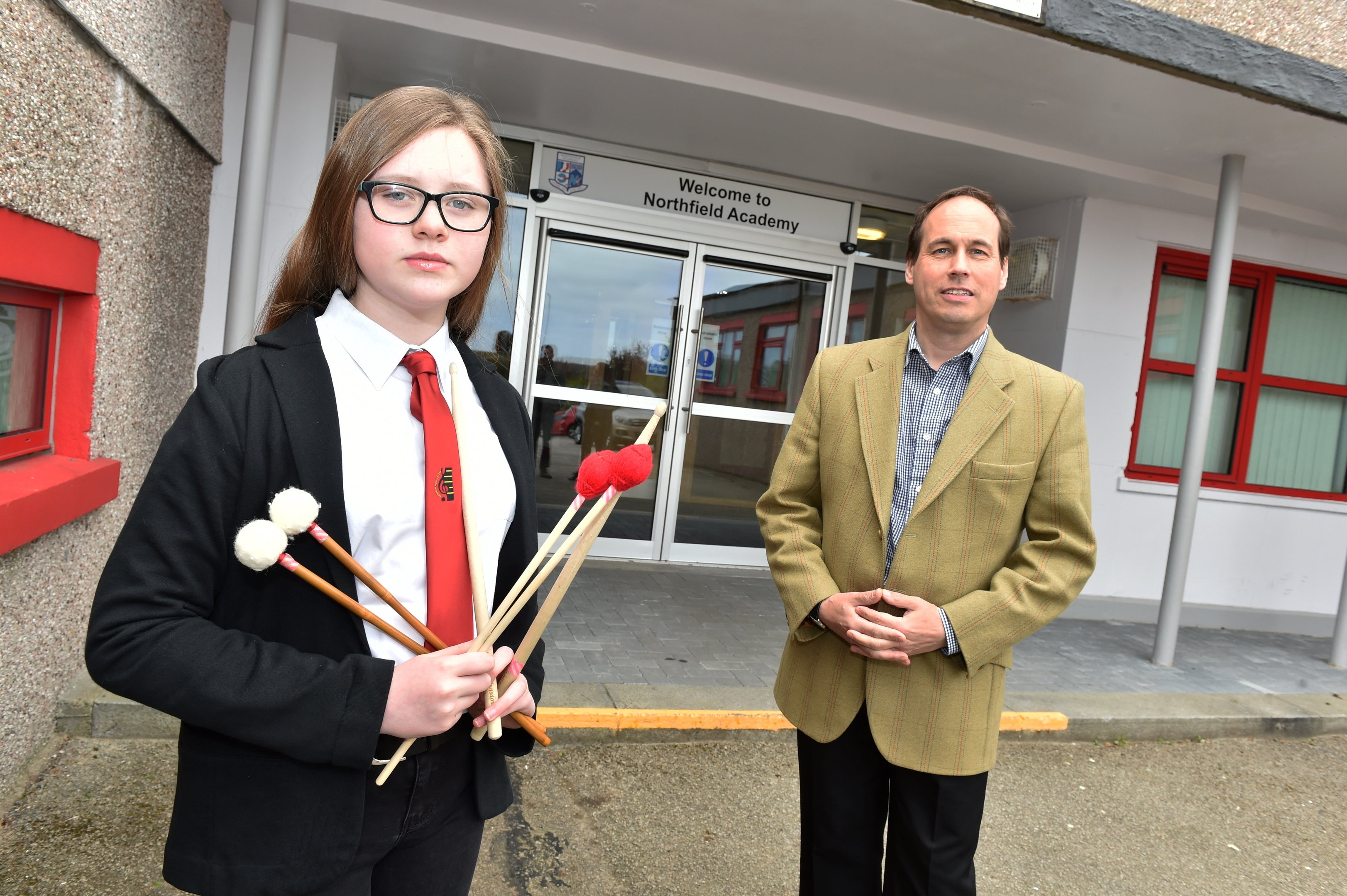 Percussionist Clara Blunsdon with Councillor Martin Greig at Northfield School. Picture by Colin Rennie