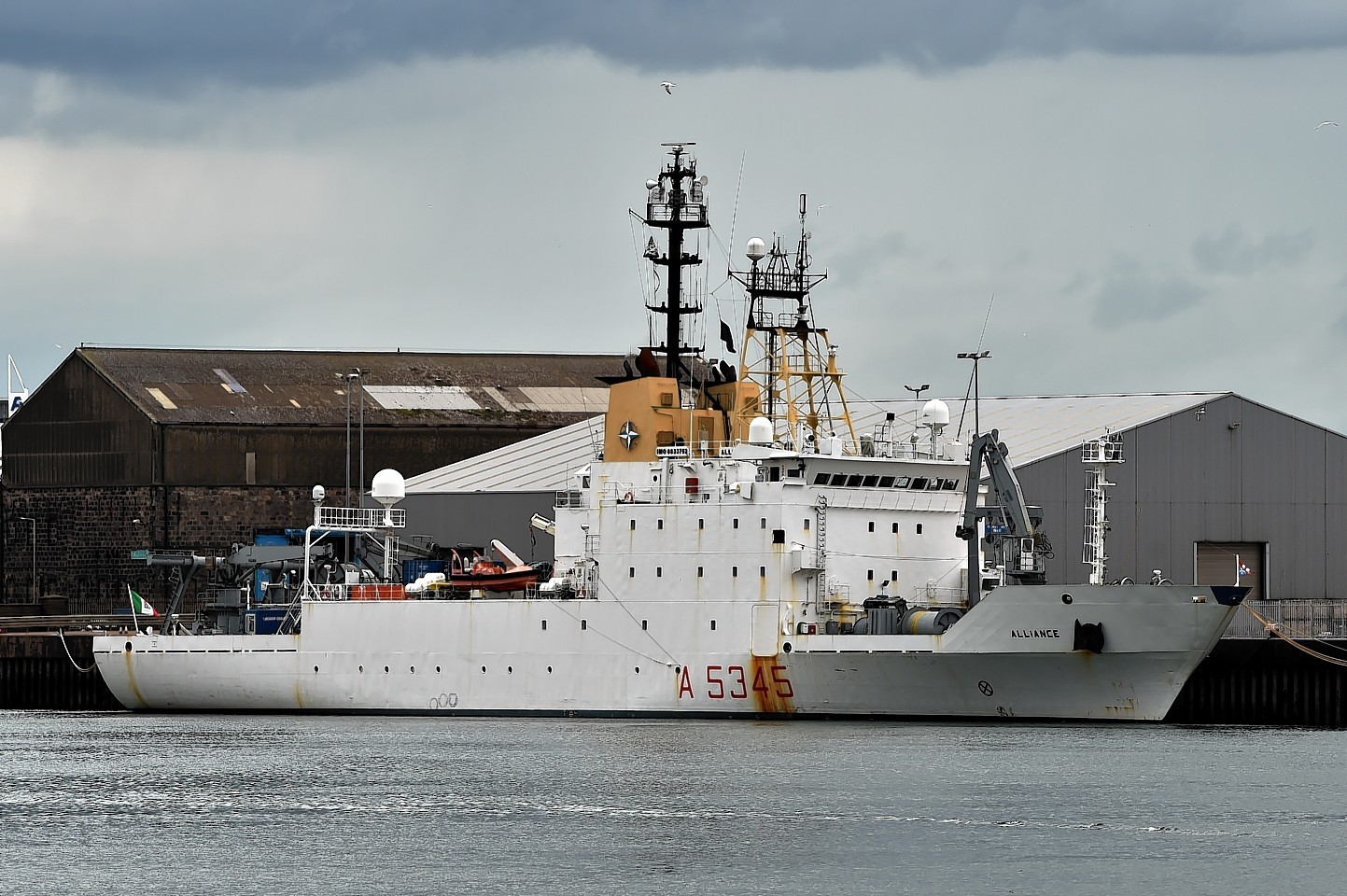 The NATO ship is believed to be the first Italian Navy vessel to dock in Aberdeen. Pictures by Kenny Elrick.