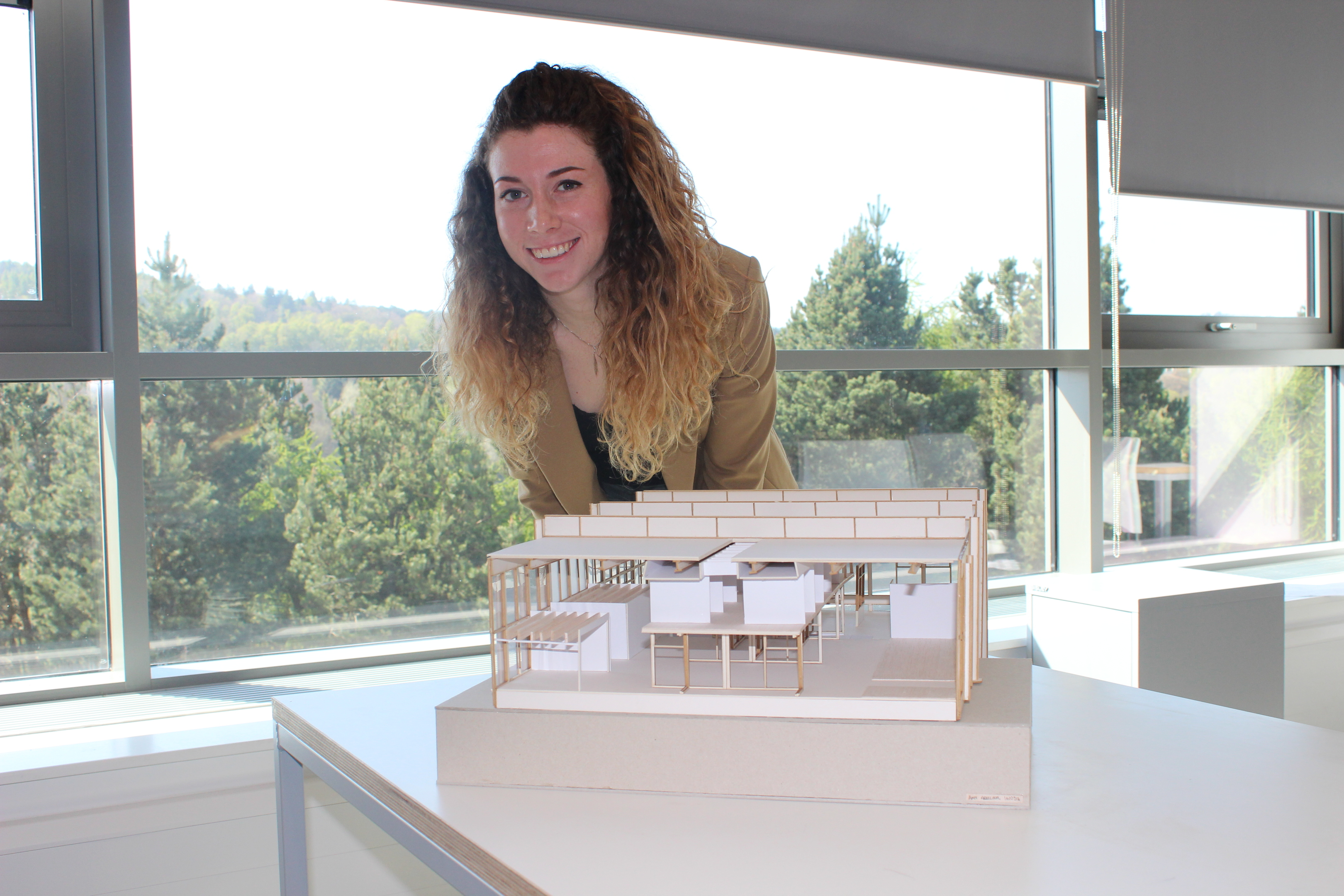 Architecture student Amy Aquilina with her winning design.