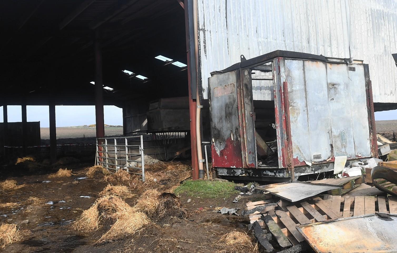 The aftermath of the fire at farm near Auchnagatt