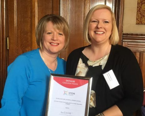 Rachel Wolford (right) with Hythehill head Susanne Gilbert who nominated her for the award