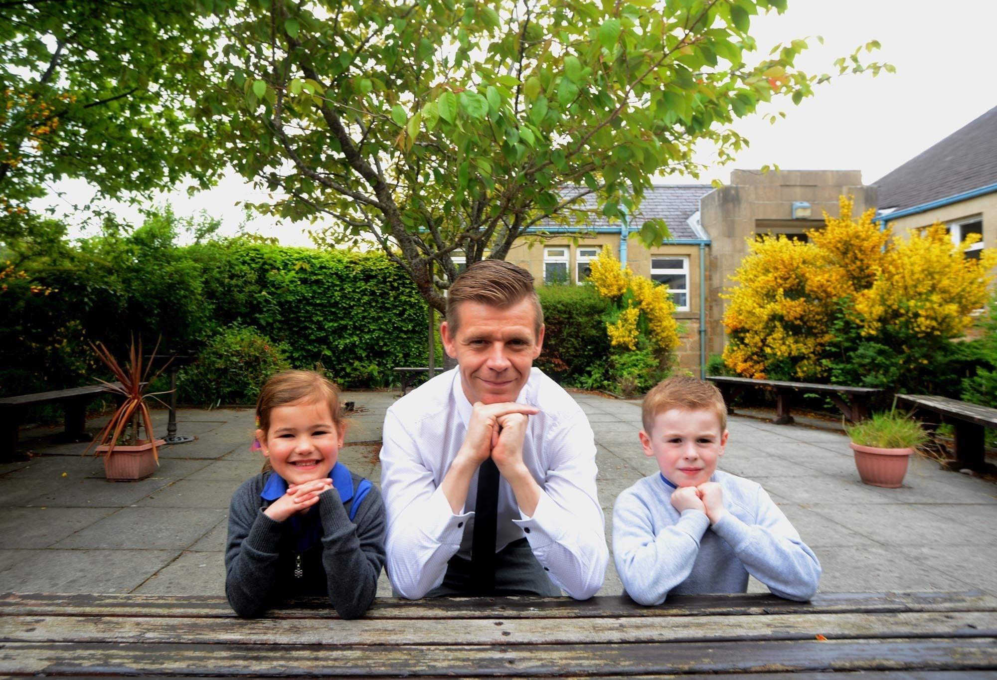Kevin Stuart primary teacher,Staci Retson 5 and Finlay Mckenzie 6