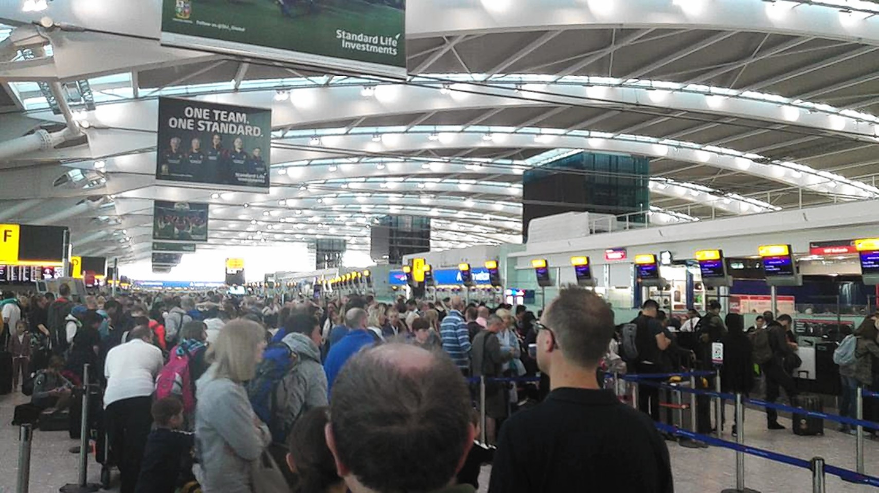 The scene at Heathrow Airport at the weekend following British Airways flight problems