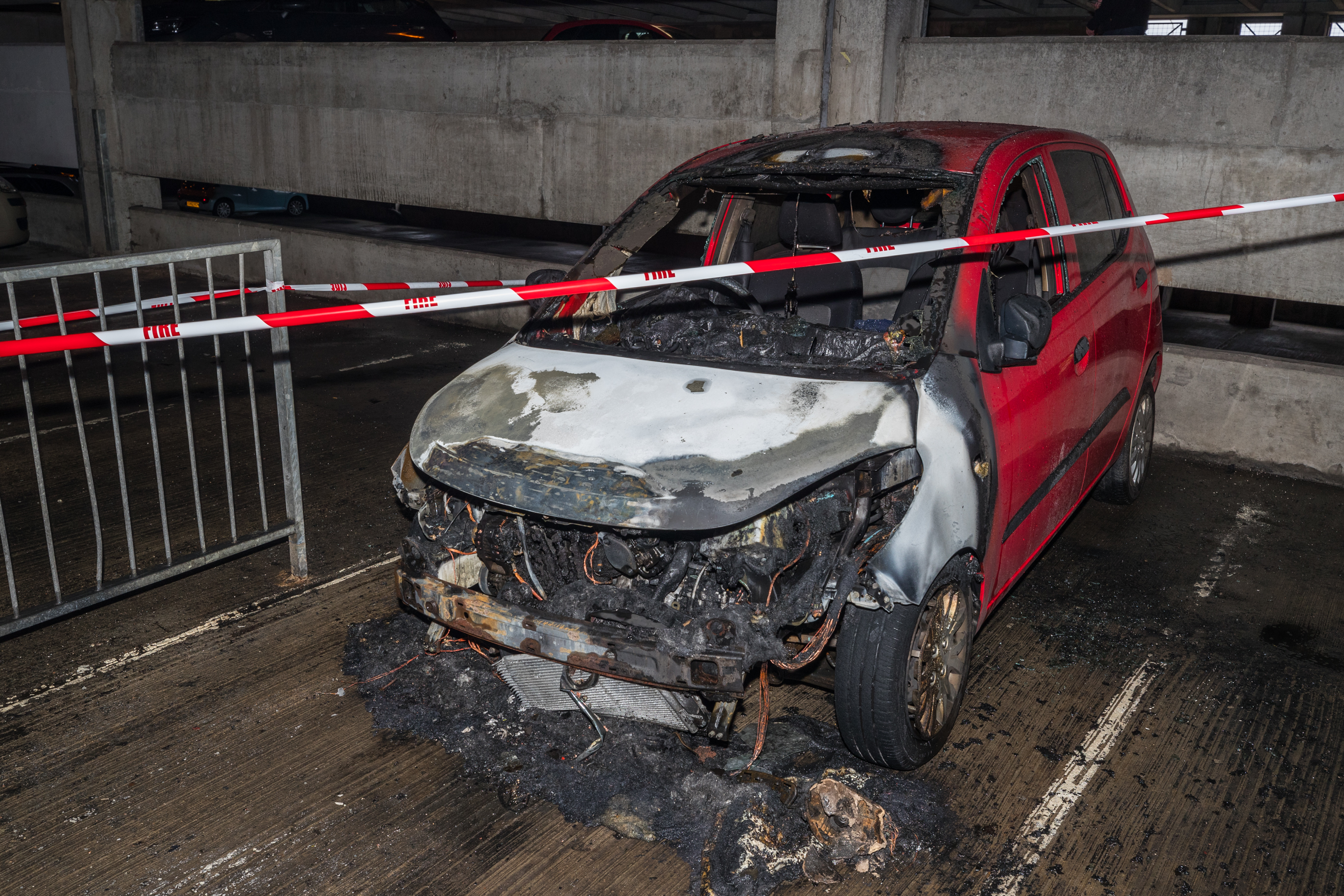 The car which burst into flames in the St Giles Centre, multi storey car park, Elgin.