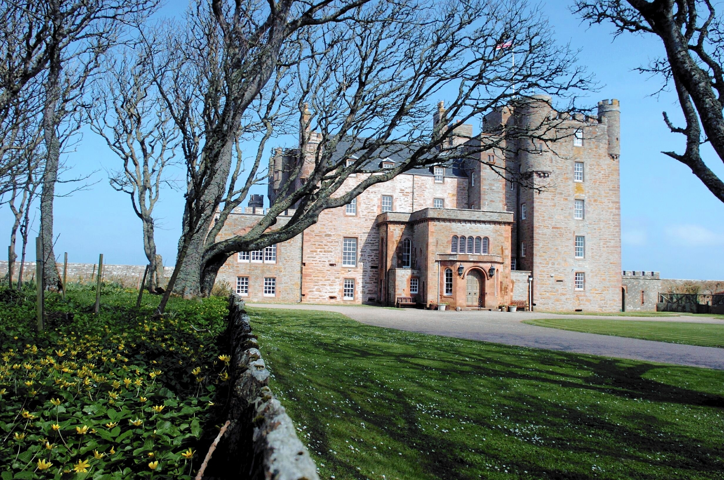 Castle of Mey and part of its garden in Caithness.