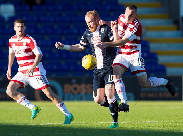 Ross County's Liam Boyce (centre) controls the ball under pressure from Darian MacKinnon