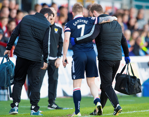 Ross County's Michael Gardyne came off injured against Hamilton.