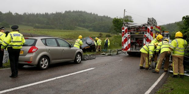 Scene of the crash on the A85 near Oban