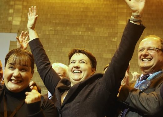 Scottish Conservative Leader, Ruth Davidson, celebrates at Meadowbank Stadium, Edinburgh.