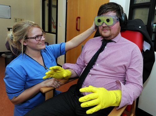 Sandie Thomson, deputy charge nurse and Press and Journal reporter, Chris Jaffray. Picture and video by Jim Irvine