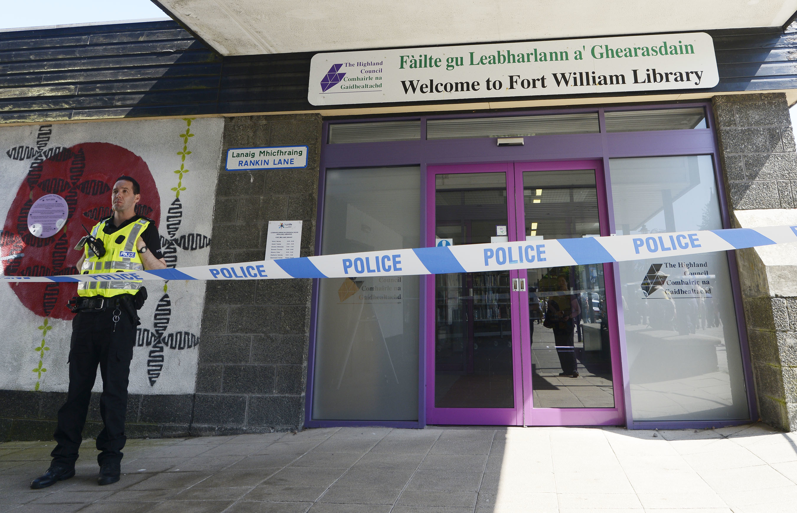 Police cordon seals off Fort William Library after being called to a gun incident inside
