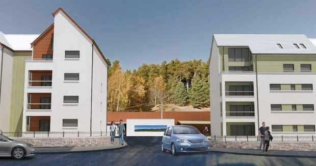Plans have been revealed for 32 apartments on the site close to the village centre off Grampian Road.