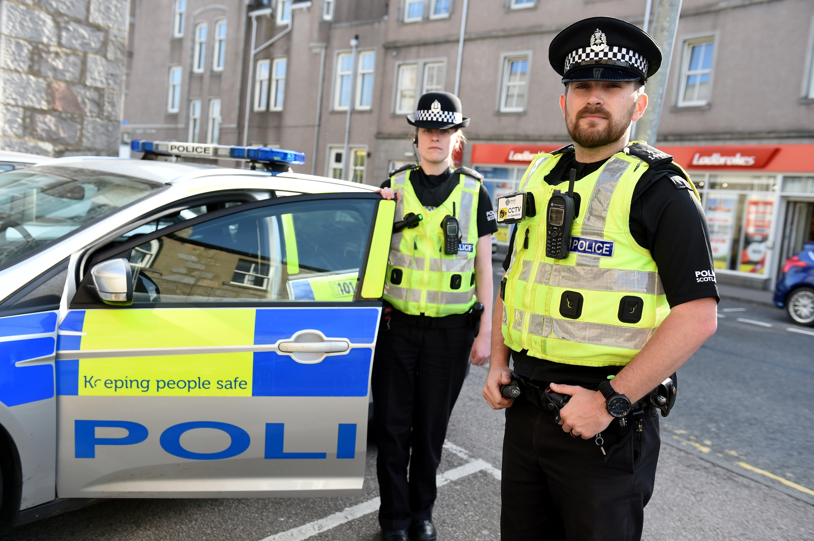 Picture of Susanne Gardiner and Rob Graham on patrol in Inverurie.