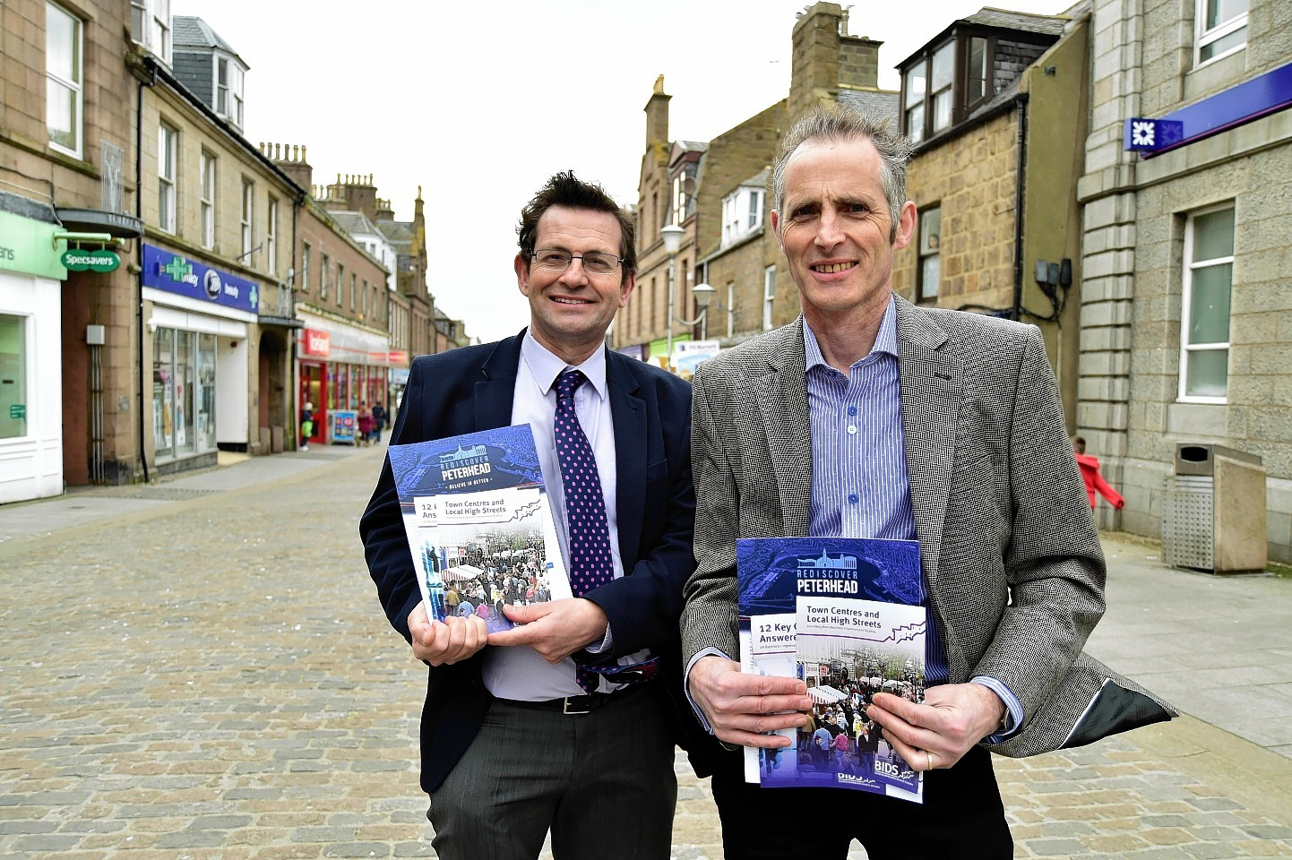 Iain Sutherland and John Pascoe in Peterhead town centre