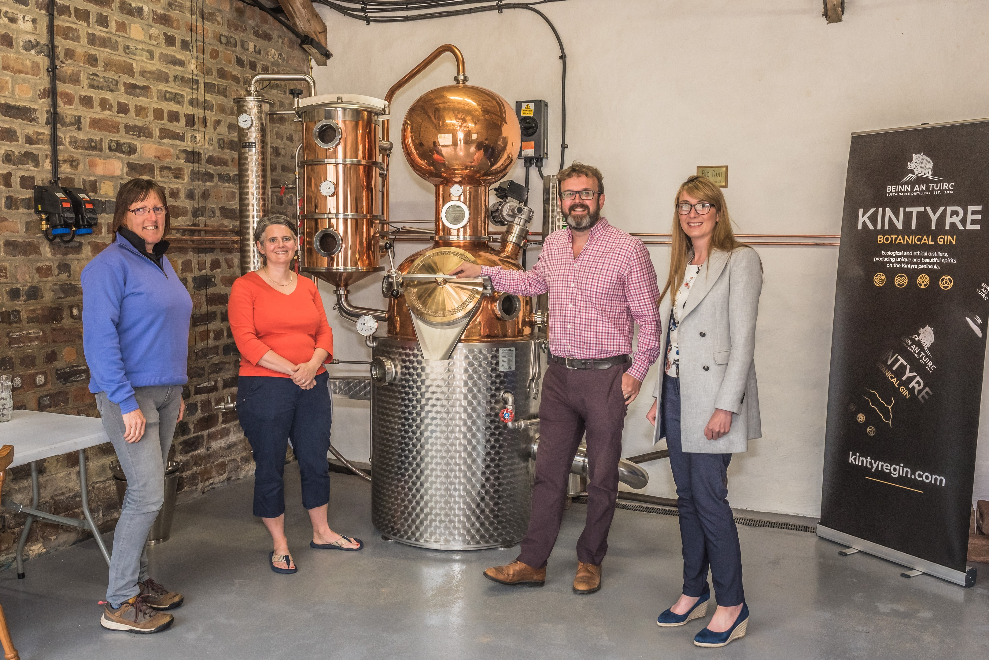 At Beinn an Tuirc Distillery, left-right: Sue Black (ScotGrad placement) Emma Macalister  Hall, Niall Macalister  Hall and Liza Moran of HIE. Picture by Raymond Hosie/ HIE