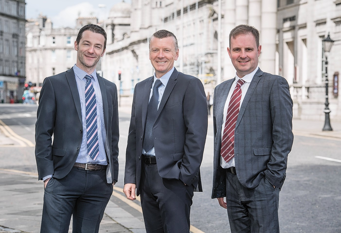 l-r Derek Mitchell, partner, and Stuart Petrie, private client tax senior manager, both AAB, and Adrian Sangster, national leasing director at Aberdein Considine