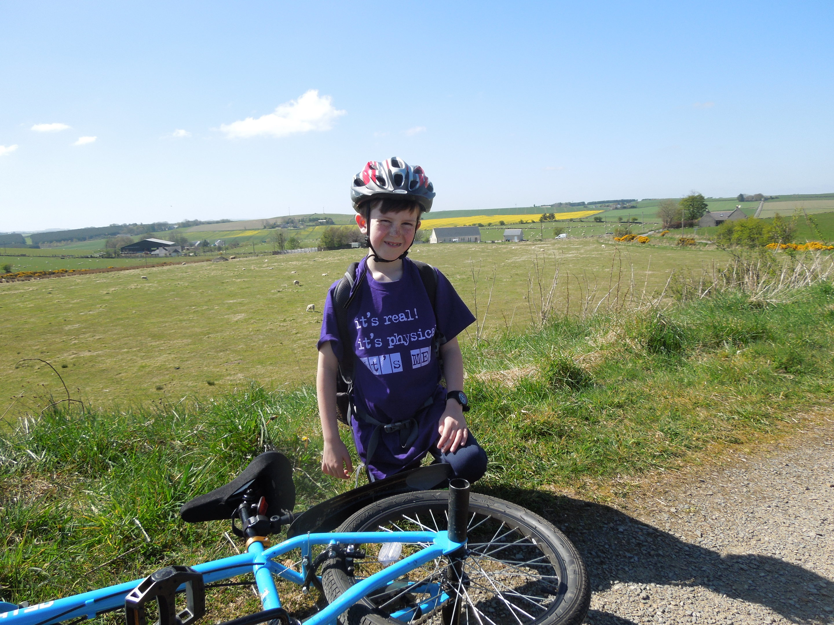 Miller McGee cycled from Mintlaw to Dyce for charity.