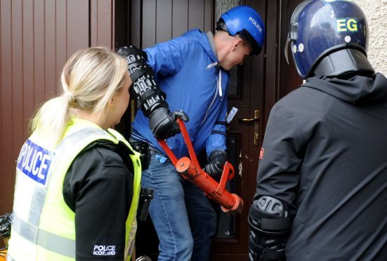 North-east police carry out a drugs raid.