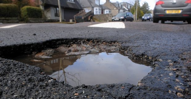 A pothole on Morningside Road in Aberdeen.