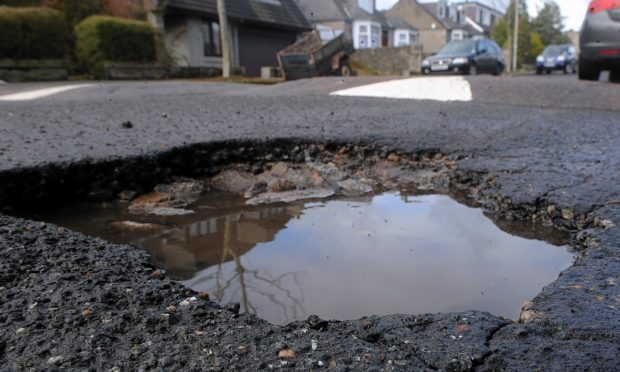 A pothole on Morningside Road in Aberdeen.